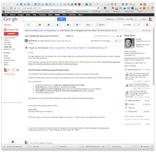 Gmail works even better with the Rapportive add-on